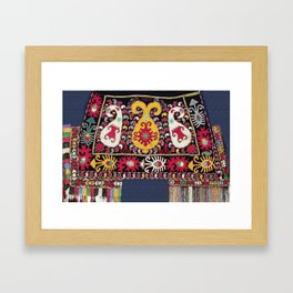 Lakai Tribal Nomad Antique Uzbekistan Horse Cover Framed Art Print