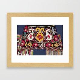 Lakai Tribal Nomad Antique Uzbekistan Horse Cover Print Framed Art Print