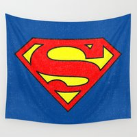 superman Wall Tapestries featuring Superman by Alisa Galitsyna