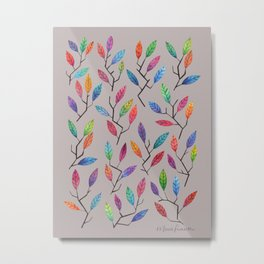 Leafy Twigs - Multicolored on Gray Metal Print