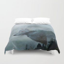 Wilderness Wolf & Poem Duvet Cover