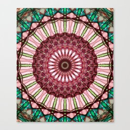 Mandala in red, light and dark green Canvas Print