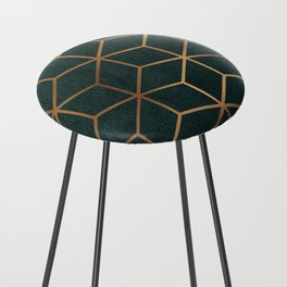 Dark Teal and Gold - Geometric Textured Gradient Cube Design Counter Stool
