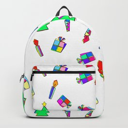 Ho Ho Ho Merry Christmas Illustration Colorful Pattern Backpack