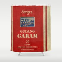 cigarette Shower Curtains featuring Surya - Vintage Cigarette by Fernando Vieira