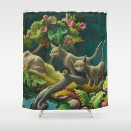Classical Masterpiece 'Cats - The Brothers' by Thomas Hart Benton Shower Curtain