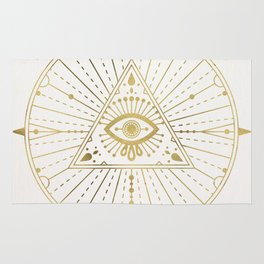 All-Seeing Eye Mandala – Gold Palette Rug