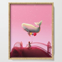 Whale and balloons - Pink Serving Tray