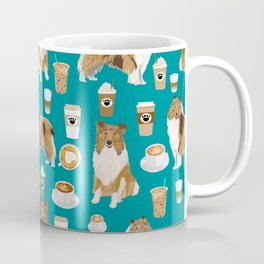 Rough Collie coffee pet portrait dog art by pet friendly latte coffee dog lover gifts Coffee Mug