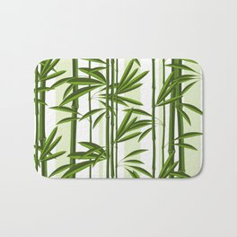 Green bamboo tree shoots pattern Bath Mat