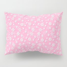 Festive Sweet Lilac Pink and White Christmas Holiday Snowflakes Pillow Sham