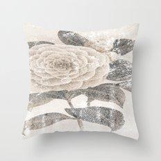 Vintage Camellia Throw Pillow