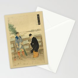 2 man on the bridge over the river Stationery Cards