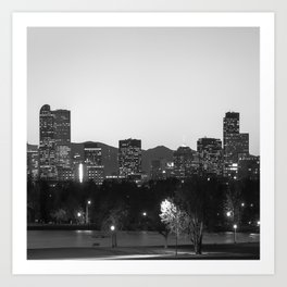 Denver Skyline and Rocky Mountains - Square Art Black and White Art Print