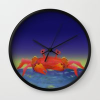 crab Wall Clocks featuring Crab by Katie Micks