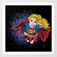 supergirl Art Prints featuring Supergirl by Waterflybooks