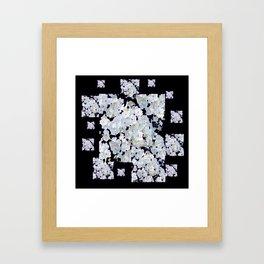 MODERN ART BLACK & WHITE FLORAL GARDEN Framed Art Print