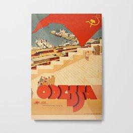 1930's Vintage USSR Travel Intourist Poster Odessa Black Sea Potemkin Steps Metal Print