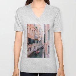 Venice Gondola Rides in Pink Unisex V-Neck