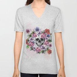 Skull & Flower Unisex V-Neck