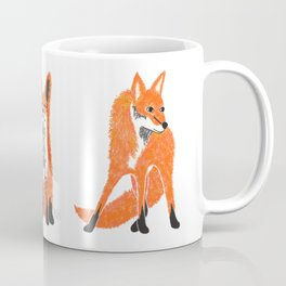 Happy Fox Blue Leaves Coffee Mug
