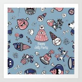 Jelly Party (Blue) Art Print