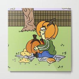 Pumpkin Head Ed Boy Metal Print