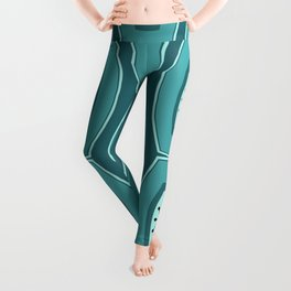 Midcentury Funky Chain Pattern Teal Leggings