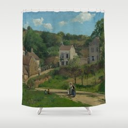 """Camille Pissarro """"The Hermitage at Pontoise"""" Shower Curtain"""
