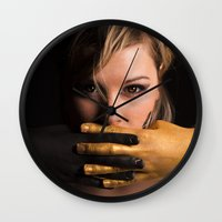 black and gold Wall Clocks featuring Black & Gold by Levi Price