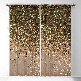 Sparkling Gold Brown Glitter Glam #1 (Faux Glitter) #shiny #decor #art #society6 Blackout Curtain
