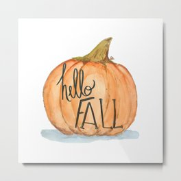 Hello fall pumpkin Metal Print