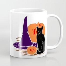 Witch Cat Pumpkin Woodcut Halloween Design Coffee Mug