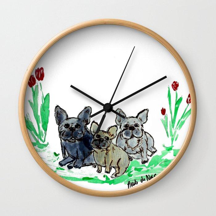 French bulldog art by BoubouleArt Wall Clock