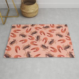 crab shrimps pattern coral Rug