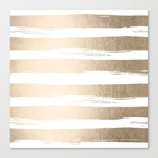 White Gold Sands Painted Thick Stripes Canvas Print