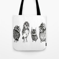 owls Tote Bags featuring OWLS by Acus