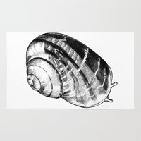 snail Area & Throw Rugs featuring Snail by MARIA BOZINA - PRINT