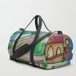 Landscape Painting Fairy town Acrylic S13 Contemporary Nursery Cityscape art for baby children kids Duffle Bag