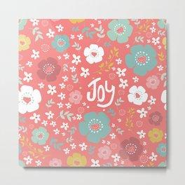 Cute Christmas Flowers Pattern & Text Joy Metal Print