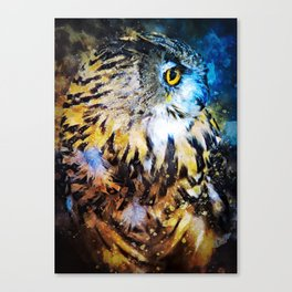 Watercolor Animals Owl Canvas Print