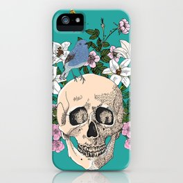 Skull drawing with flowers,bird and butterfly iPhone Case