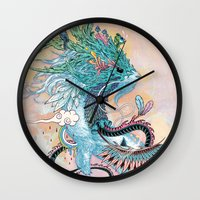 spirit Wall Clocks featuring Journeying Spirit (ermine) by Mat Miller