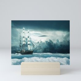 Blue Ocean Ship Storm Clouds Mini Art Print