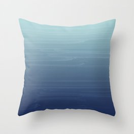 Light blue to navy painted gradient ombre Throw Pillow