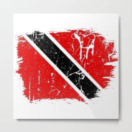Distressed Trinidad and Tobago Flag Graffiti Metal Print