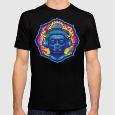 Psychedelic Buddha  Mens Fitted Tee LARGE Black