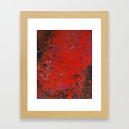 Acrylic Pour - Red Black Purple Gold Framed Art Print