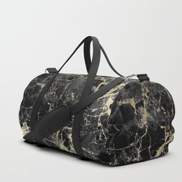 Chic black faux gold modern abstract marble Duffle Bag