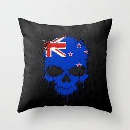 Flag of New Zealand on a Chaotic Splatter Skull Throw Pillow